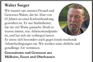 Wir trauern um Walter Seeger