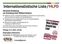 Internationalistische Liste / MLPD - Einladung zur Gründung einer Wählerinitiative